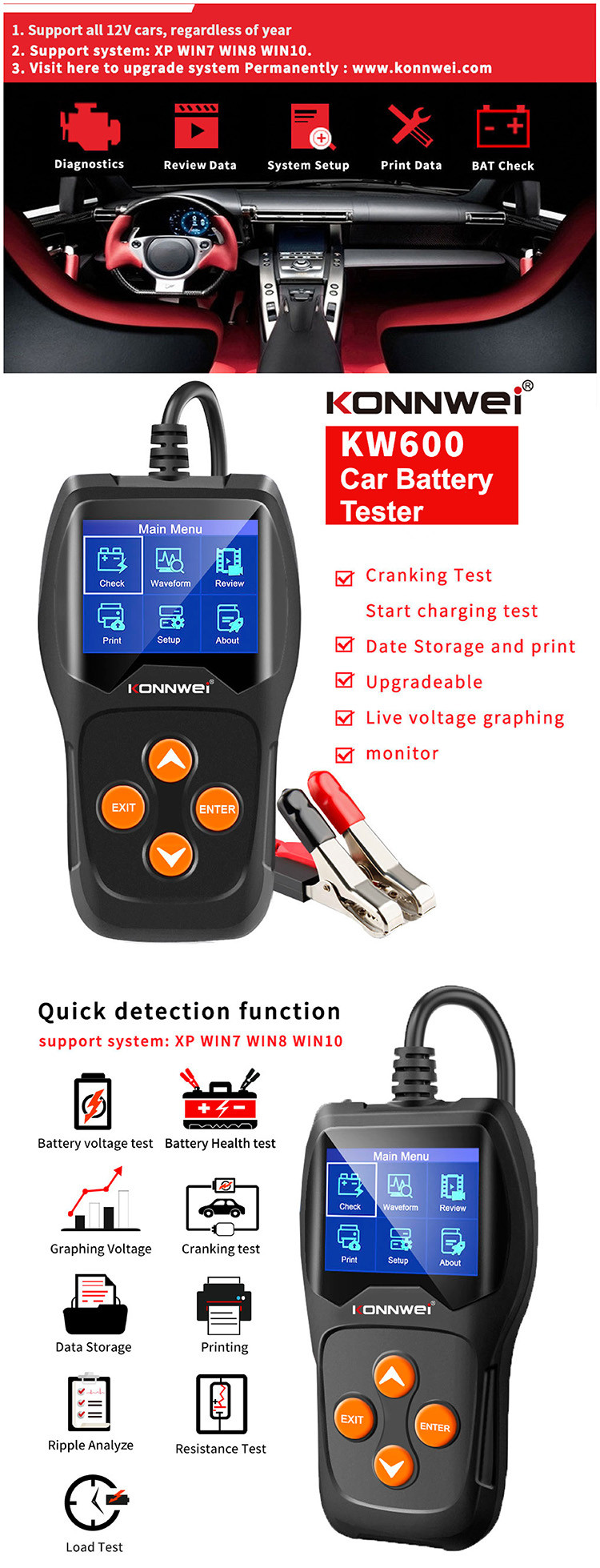Konnwei Professional Lead Acid Battery Analyzer Hybrid Car Battery Tester With Printer Buy Hybrid Car Battery Tester Car Battery Load Tester Battery Tester 12v Product On Alibaba Com