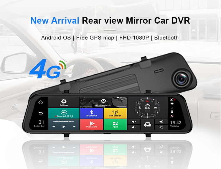 "4G Car DVR 10"" Android 5.1 GPS Navigation Stream RearView Mirror FHD 1080P ADAS Dash Cam Camera Video Recorder Auto"