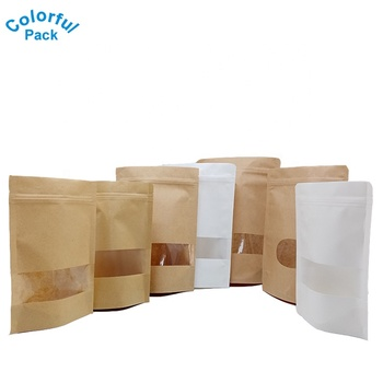 Custom Resealable ziplock stand up pouch kraft paper tea coffee snack packaging bag for food with window