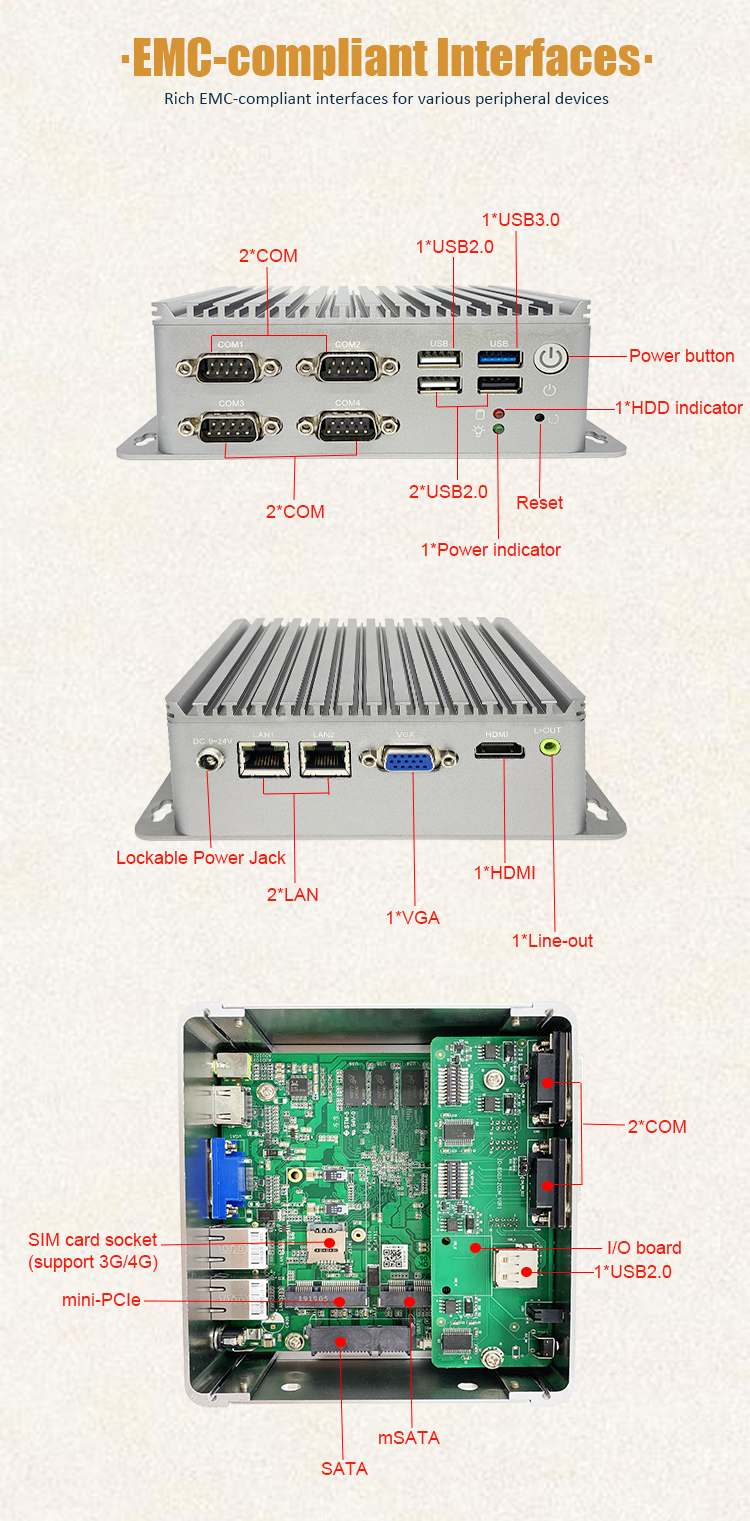 Embedded best buy vesa mounting fanless design 4 com dual lan nano mini pc with 4gb ram