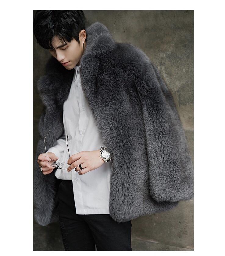 Super Luxury FUR Coat ฤดูหนาวผู้ชายหนาหนายาวผู้ชายขายส่งฤดูหนาวบุรุษ Fox ขนสัตว์