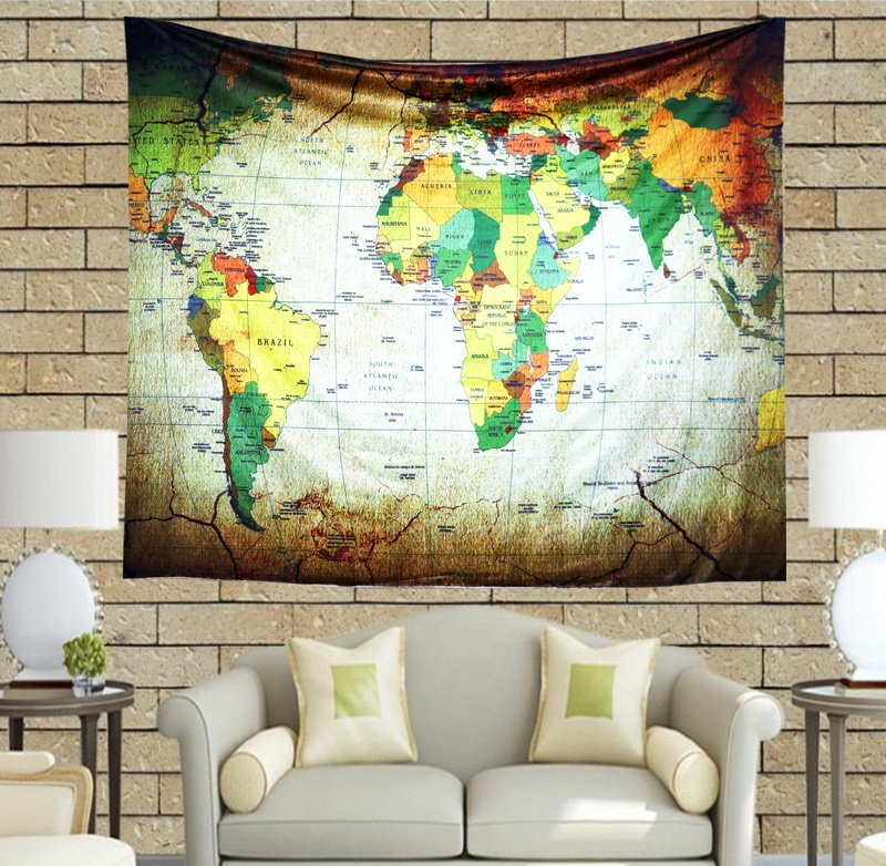RTS Amazon Factory Direct Sale Custom Map World Wall Hanging Tapestry