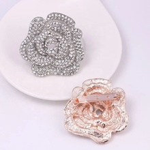 Subiu broche de flor crystal clear rhinestone broches