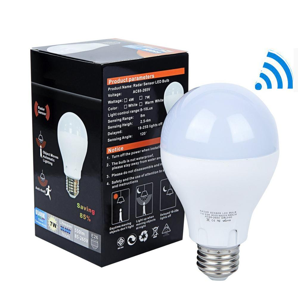 2019 Allmay Smart Intelligent Microwave Radar Motion LED sensor Light Bulb <strong>E27</strong> with Photocell Light Sensor