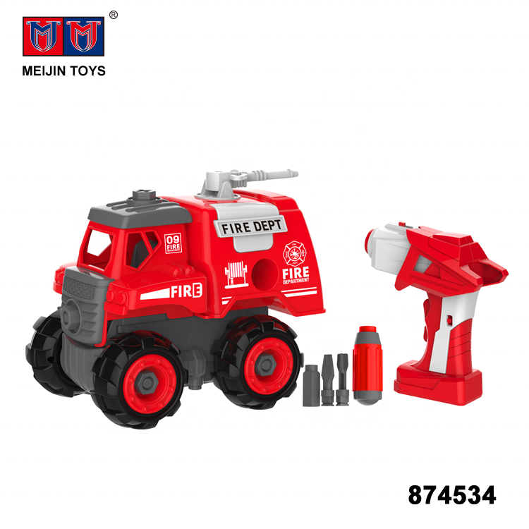 educational play 2.4G 2 in 1 assemble toys rc fire truck