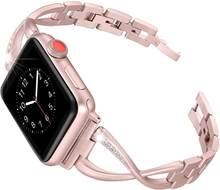 Бриллиантовый ремешок для apple watch 38 мм 42 мм 40 мм 44 мм iWatch 5 браслет для женщин из нержавеющей стали Apple Watch Band аксессуары(China)