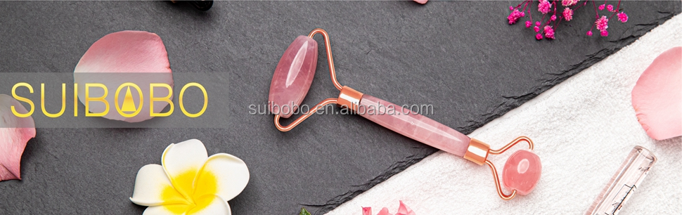 Skincare Pink Rose Quartz Real Jade Crystal Gem Stone Marble Cuarzo Ice Cold  Jaderoller With Oem Branded Box