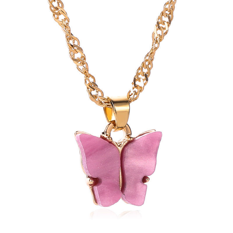 Bohemian Summer Gold Clavicle Chain Pink Acrylic Butterfly Charms Acrylic Butterfly <strong>Pendant</strong> Necklace