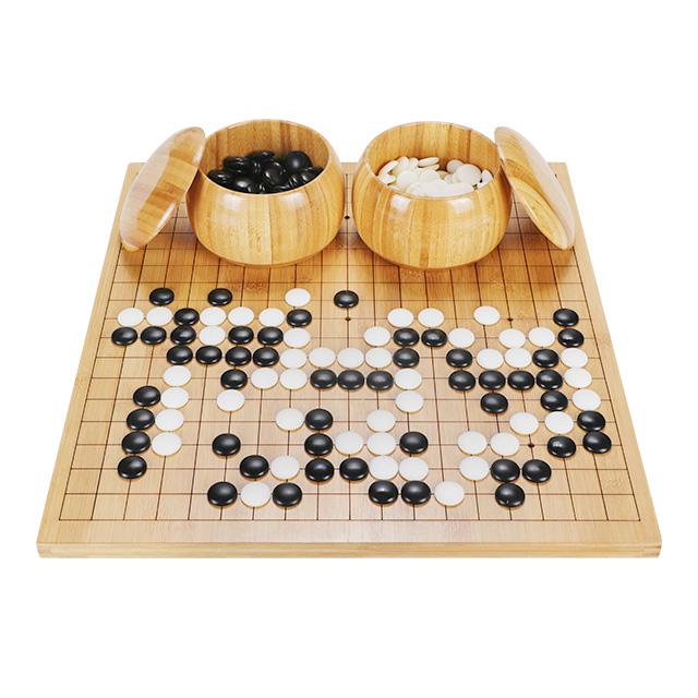 Satranç oyunu bambu tahta bambu kaseler ince seramik porselen taşlar weiqi için beyin eğitim