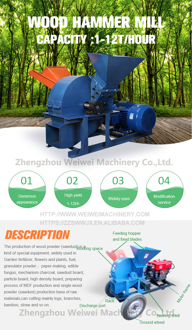 WEIWEI BRAND wood chipper machine wood grinder wood crusher tree root branch hammer mill
