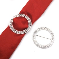 Metal Round Shape Diamante Slide Rhinestone Large Buckles