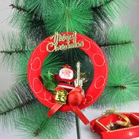 Cute Design Christmas Wreath with Santa Claus Rattan Wreath Door Hanger Wall Decoration