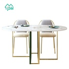 Light luxury modern furniture round stainless steel frame marble slab dinning table set