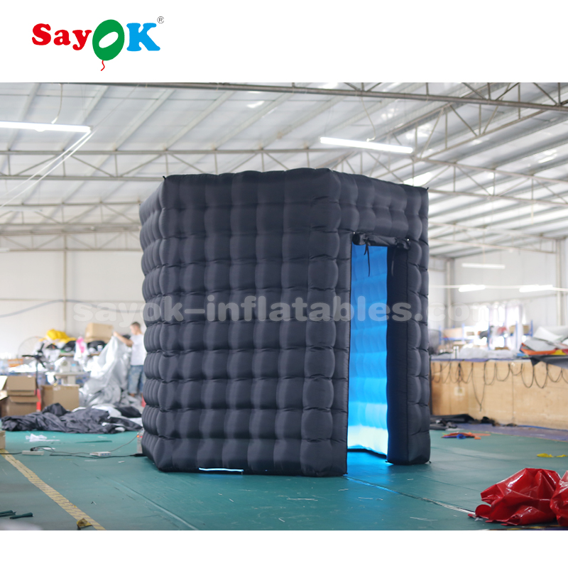 2*2.5m black hexagon inflatable photo booth with LED Light