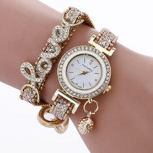 VOHE модные роскошные женские наручные часы с ремешком в виде слова любви женские часы-браслет повседневные кварцевые часы(Китай)