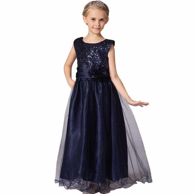 Children's wedding princess dress sequined waist flower dress performance
