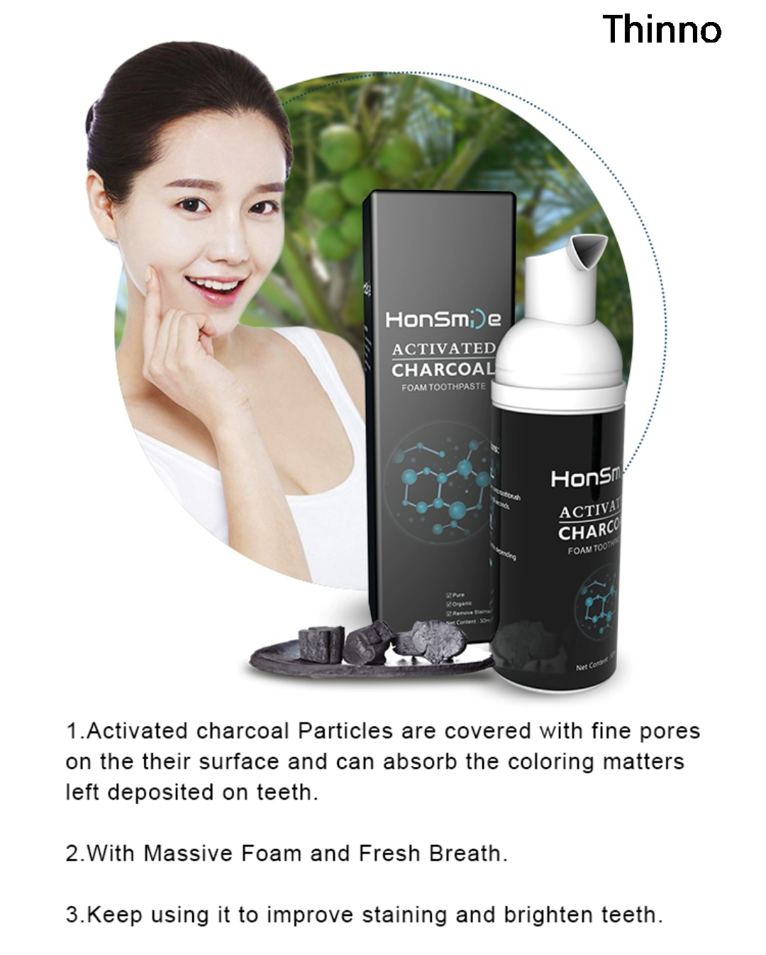 New Natural Herbal Private Logo Activated Bamboo Charcoal foam Toothpaste