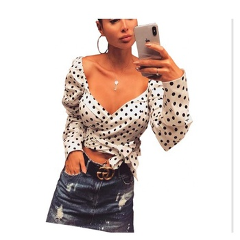 V Neck Sexy Women 2018 Black Polka Dot White Tunic Blouse Shirt Puff long Sleeve chiffon Crop Top blouse