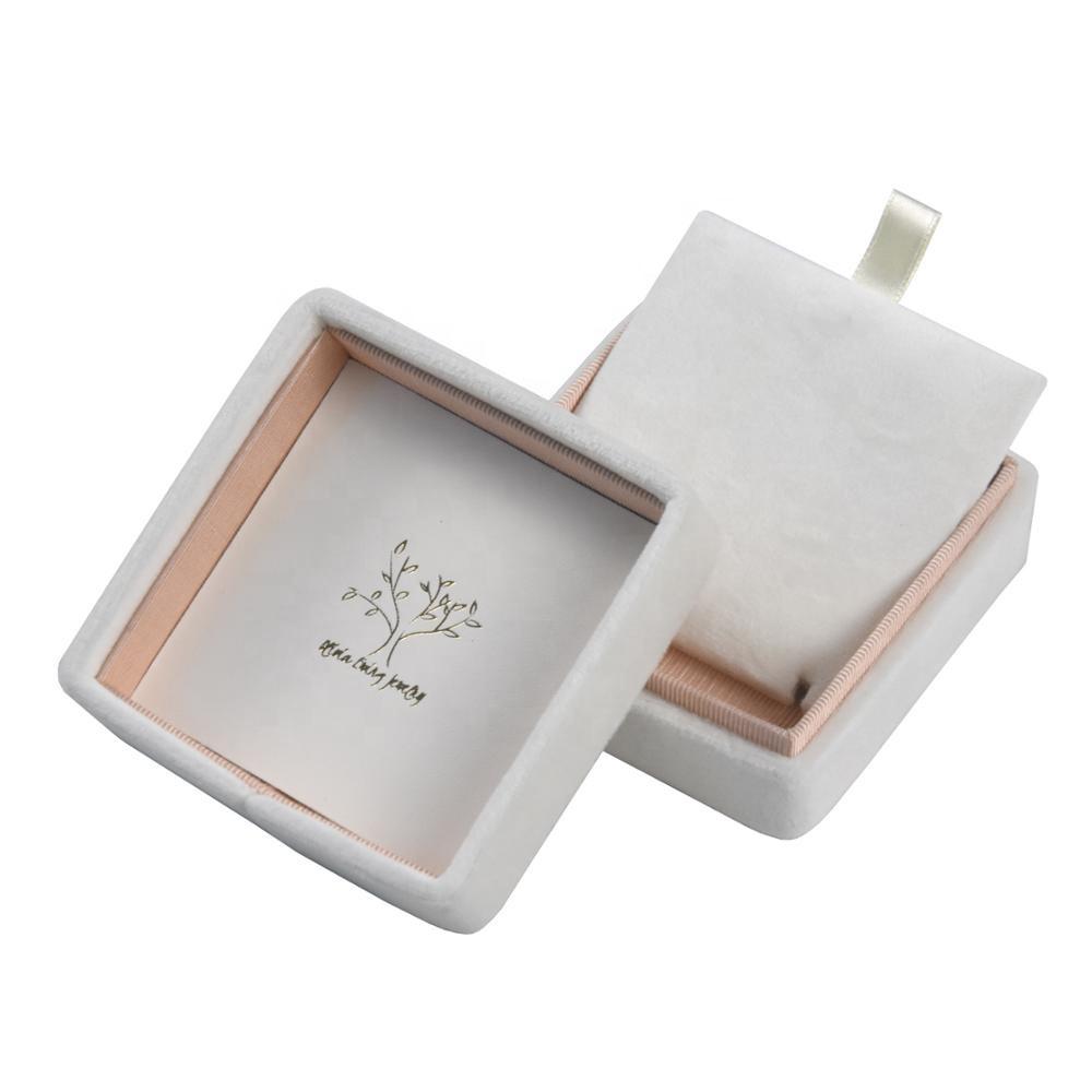 Custom logo luxury velvet jewelry packaging gift box for necklace bracelet