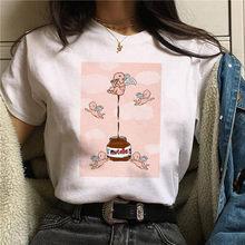 Женская футболка с принтом Kawaii, с коротким рукавом, Harajuku, модная, с графическим рисунком, Корейская версия, летний топ, мягкая, эстетичная дев...(China)