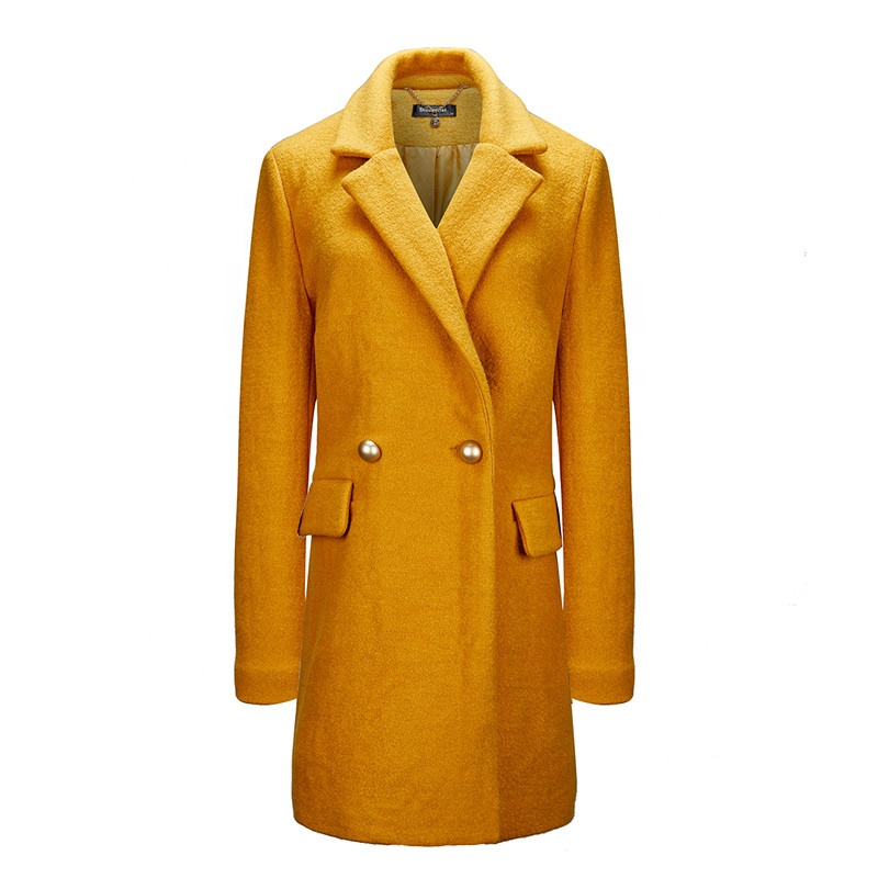 2019 <strong>Women</strong> Winter Warm Long Turn-down Collar Windproof Wool <strong>Trench</strong> <strong>Coat</strong> <strong>For</strong> Lady