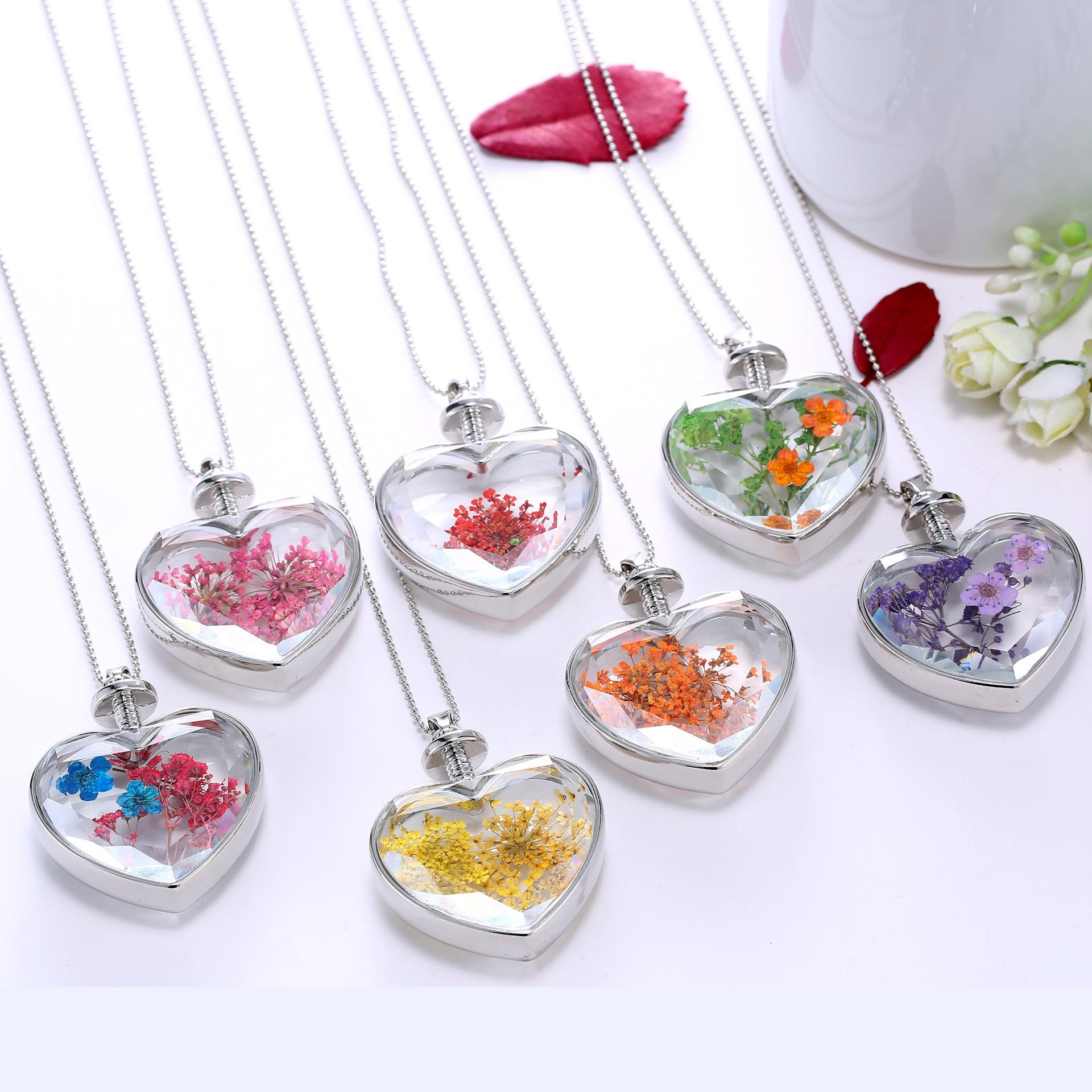 Creativo di vetro della collana Del Pendente vegetali campione rotonda a forma di cuore di Cristallo della fiala bottiglia della collana reale secchi premuto Fiore regalo