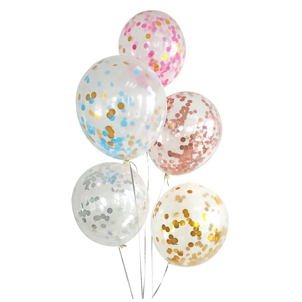 Wholesale Birthday Party Set Ballon Multi Color Green Gold Clear Confetti Balloons