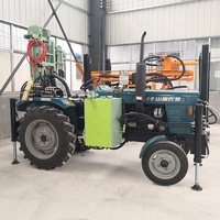 Tractor mounted air DTH water well drilling rig