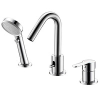 3 hole bathtub faucet deck mounted tub tap bath faucet with hand shower.