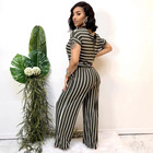 HOT sale Stripe printed knitted elastic style big yards plus size jumpsuits 5XL new arrival