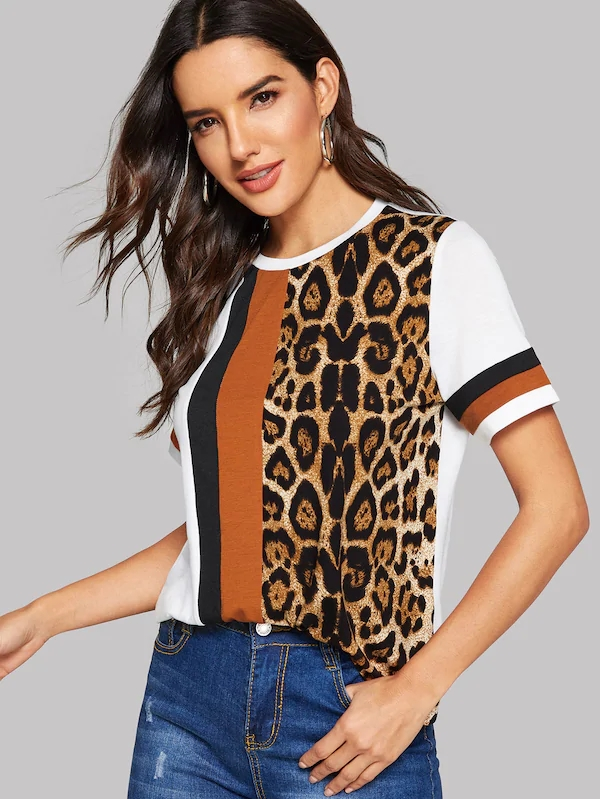 KY crewneck short sleeve Cut-And-Sew leopard print Panel Top streetwear tshirt clothing