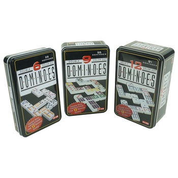 Double six and double nine and double twelve domino with tin box wholesale