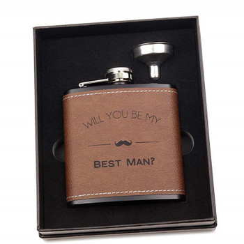 customized 6oz leather stainless steel hip flask set