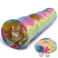 2020 Rainbow Warm Safe Polar Fleece One Way Attachable Foldable Pet Cat Tunnel Toy with Crinkle Sound