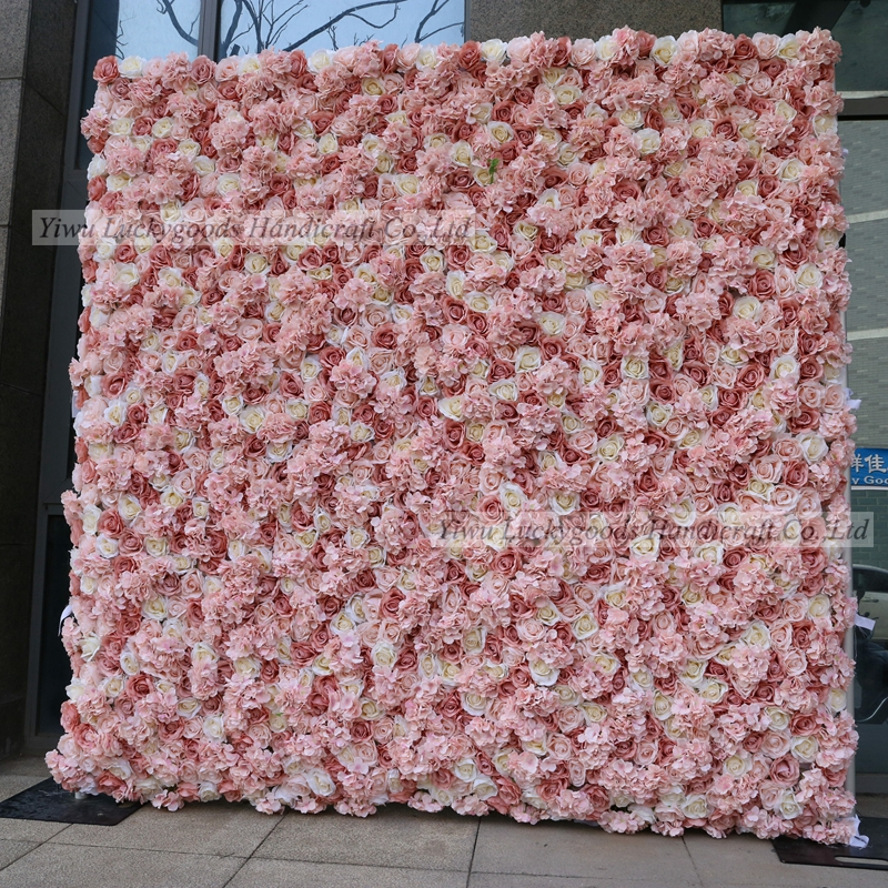LFB1101 Artificial Silk Rose Wedding Stage Decoration Flower Wall 3D Floral Backdrop