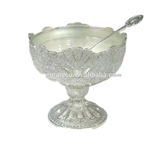zinc alloy new style ice cream cup/salad bowl with glass and spoon / cup cake dish