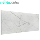 Marble Textures Calacatta White Quartz Engineered Stone for Countertop