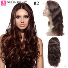 DreamDiana, Омбре, полный шнурок, парики, человеческие волосы, 150 плотность, длинные, Омбре, бразильский Волнистый парик, ручная работа, блонд, беск...(Китай)