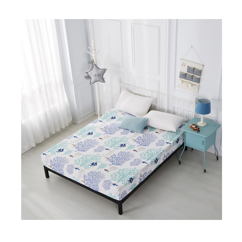 custom cotton bed sheet polyester comfort 100% material fabric printed cover percal cheap print Four-piece set