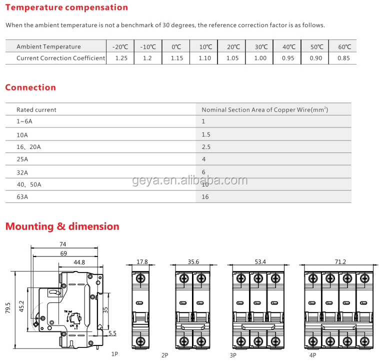 GEYA GYM1 DZ47S Electrical Circuit Breaker Types OEM MCB Rating 1A 2A 3A 4A 6A 10A 13A 15A 20A 25A 30A 32A 40A 50A 60A 63A