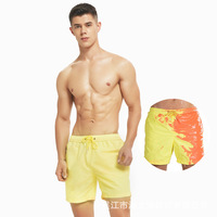 OEM Custom short Logo Color Changing Swim Trunks Heat Reactive Swimwear Beach Shorts men Quick Dry and Durable Board Shorts Mens