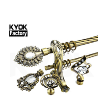 KYOK Windows curtain rod accessories 28mm aluminium curtain rod with cheap price crystal curtain finials