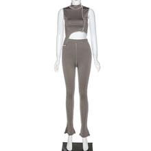 Женский спортивный комплект одежды для активного отдыха, облегающий Топ без рукавов и штаны, комплект из 2 предметов, весна-лето 2020(Китай)