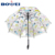Hot sale fashion print design dome shape POE  straight cheap transparent umbrella