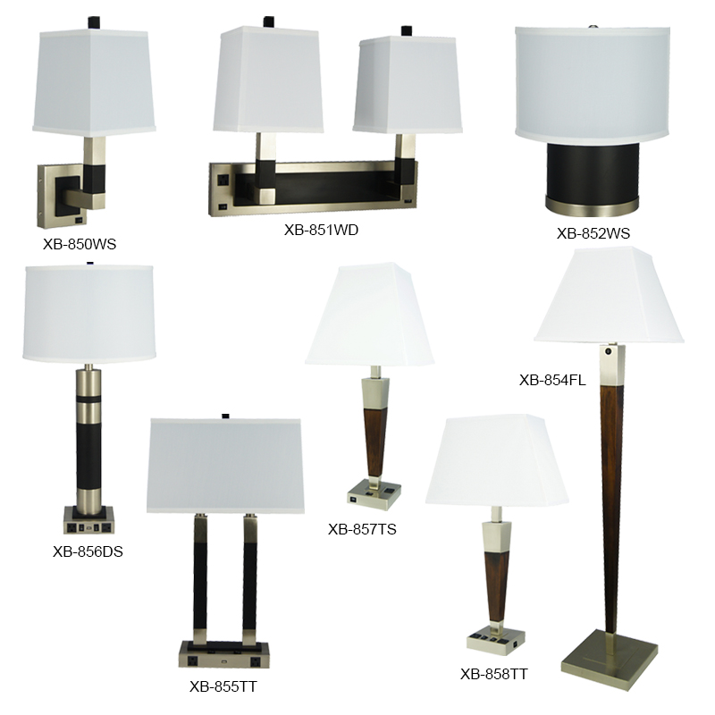 Classic Office Desk Lamp Black Wood Brushed Nickel Accent Table Floor Lamp Lighting Set for Home Hotel