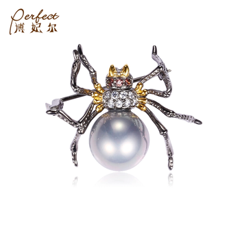 Special Faberge Spider Design 925 Silver Animal Brooch with Shell Pearl