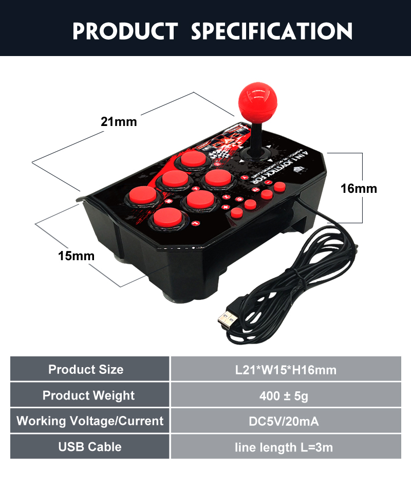 YLW Android Gaming Controller 4 IN 1 Wired Arcade Joystick For Nintendo Switch Console,PC Flight Games Joystick