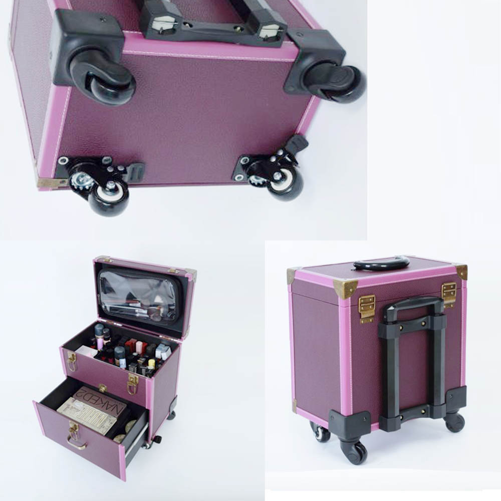 leather black 4 in 1 makeup vanity trolley case artist luggage professional with mirror on wheels