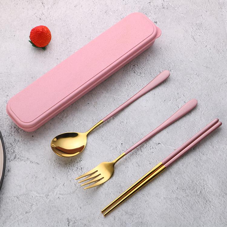 Rose gold korean cutlery set , portable stainless steel cutlery for custom metal chopsticks , chopsticks and spoon set