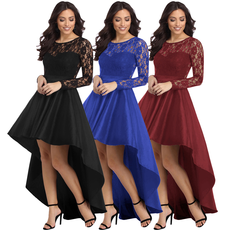 High Quality Fashion Women Long Sleeve Lace High Low Satin Maxi Evening Prom Party <strong>Dress</strong>